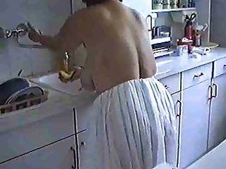 Woman with BIG Ass and Boobs Cleaning the House (Mature)
