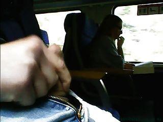 Masturbation in front of girl in glasses on train