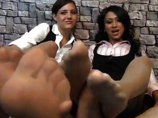 Uk Indian Slut Jasmine And White Friend Nylon Footjob