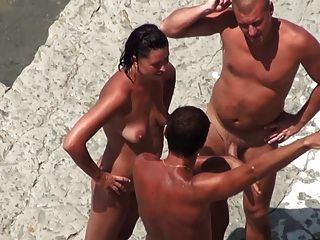 Nude Beach - Mature Mmf Threesome On The Shore