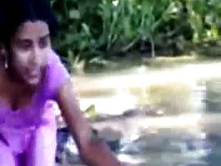 Village Girl Bathing In River